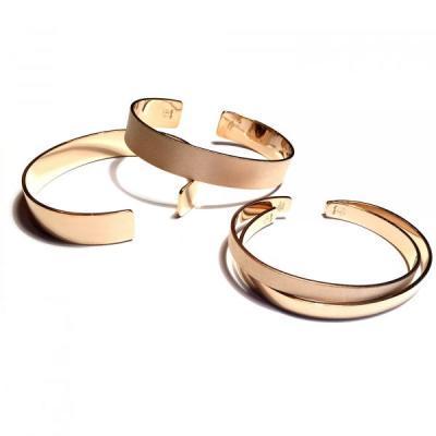 Bracelet bande argent plaqué or