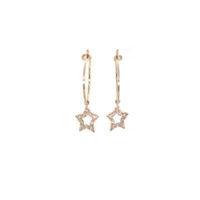 Créoles en or et étoiles diamants